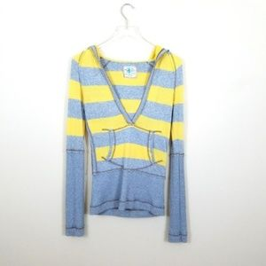 Free People Yellow Gray Striped Pullover Hoodie